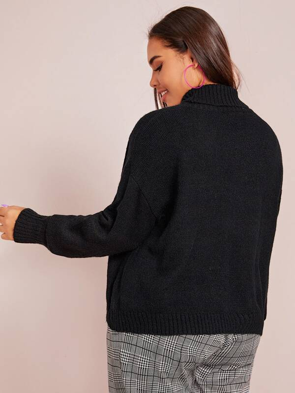 Plus Size Turtle Neck Drop Shoulder Sweater Top