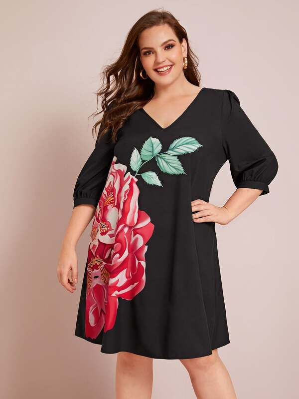 Plus Size Puff Sleeve Floral Print Dress