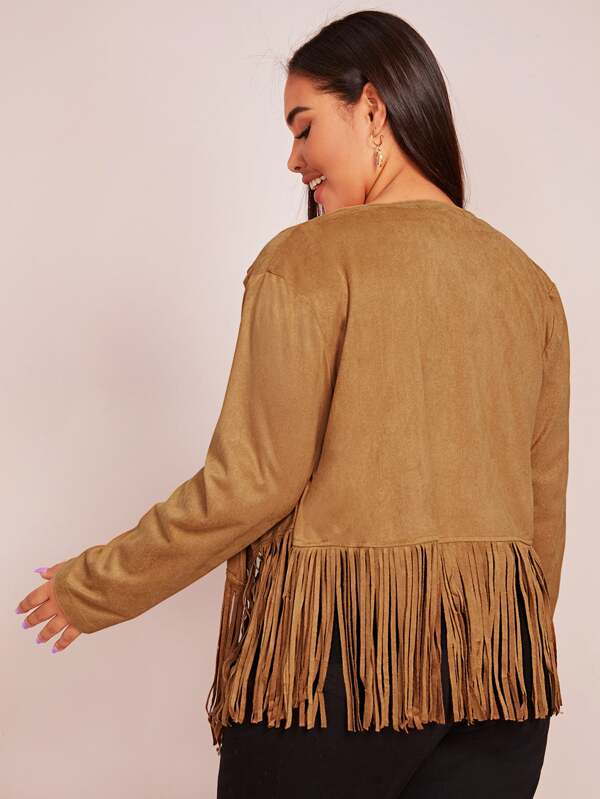 Plus Size Fringe Hem Suede Jacket Top