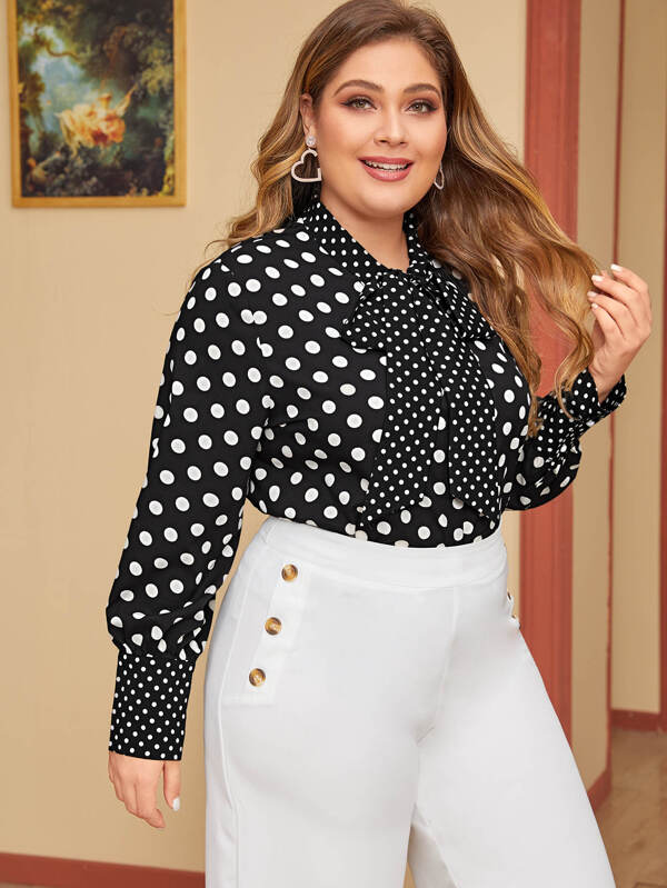 Plus Size Tie Neck Polka Dot Blouse