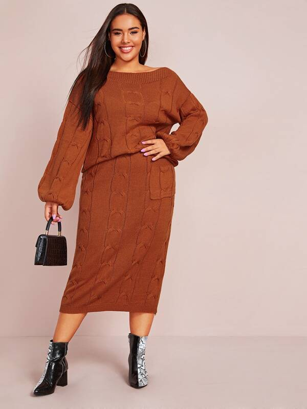Plus Size Cable Knit Jumper & Sweater Top Skirt