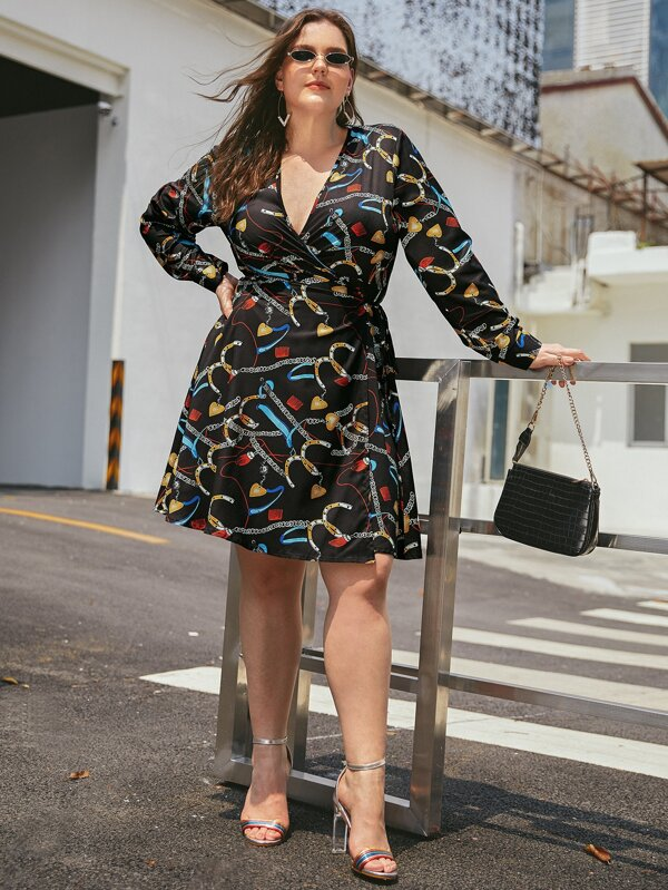 Plus Size Chain Print Tie Side Wrap Dress