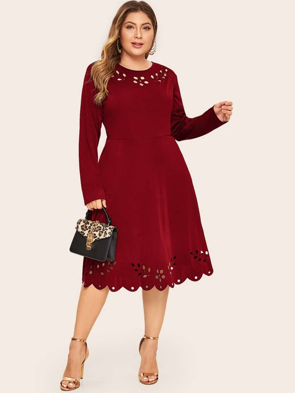 Plus Size Laser Cut Scallop Trim Flare Dress