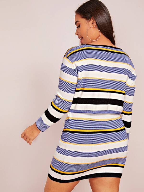 Plus Size Striped Crop Sweater & Bodycon Skirt Set