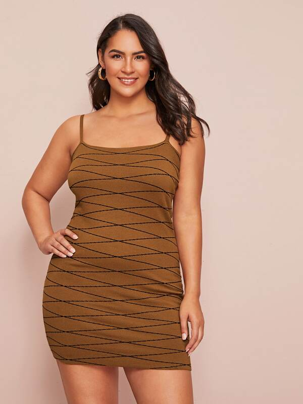 Plus Size Contrast Stitch Bodycon Dress