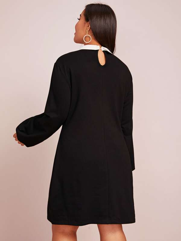Plus Size Embroidery Contrast Collar Tunic Dress