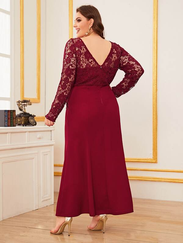 Plus Size Double V-Neck Lace Raglan Sleeve Split Dress