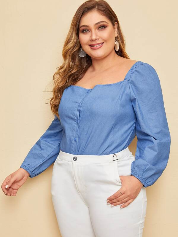 Plus Size Square Neck Button Through Denim Top