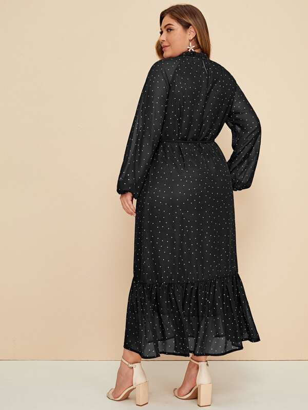 Plus Polka-Dot Print Ruffle Hem Belted Dress