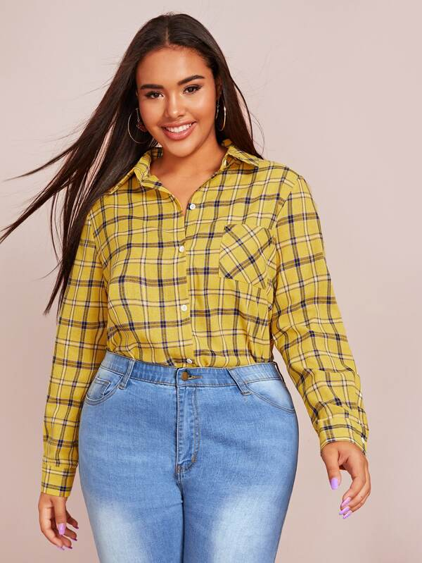Plus Size Plaid Print Split Side Blouse Top