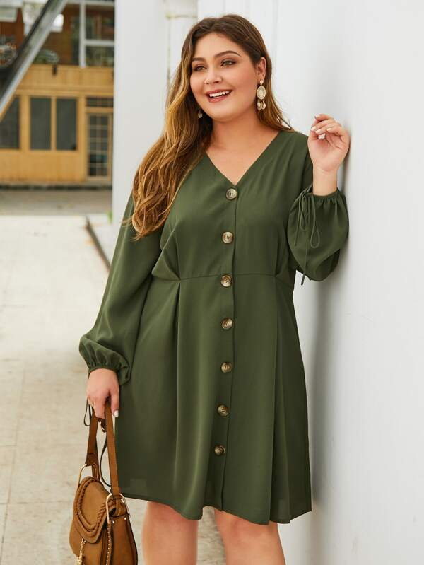Plus Size Button Up Tie Sleeve Solid Dress