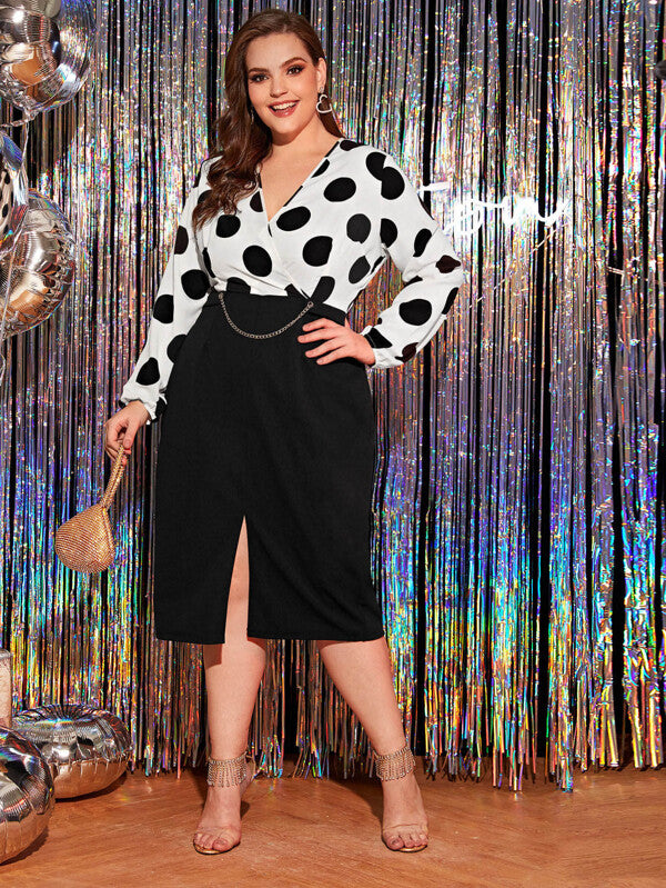 Plus Size Polka Dot Split Front Chain Detail Dress