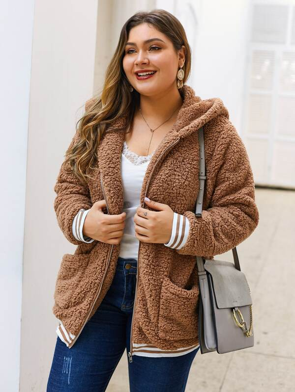 Plus Size Striped Dual Pocket Hooded Teddy Jacket Top