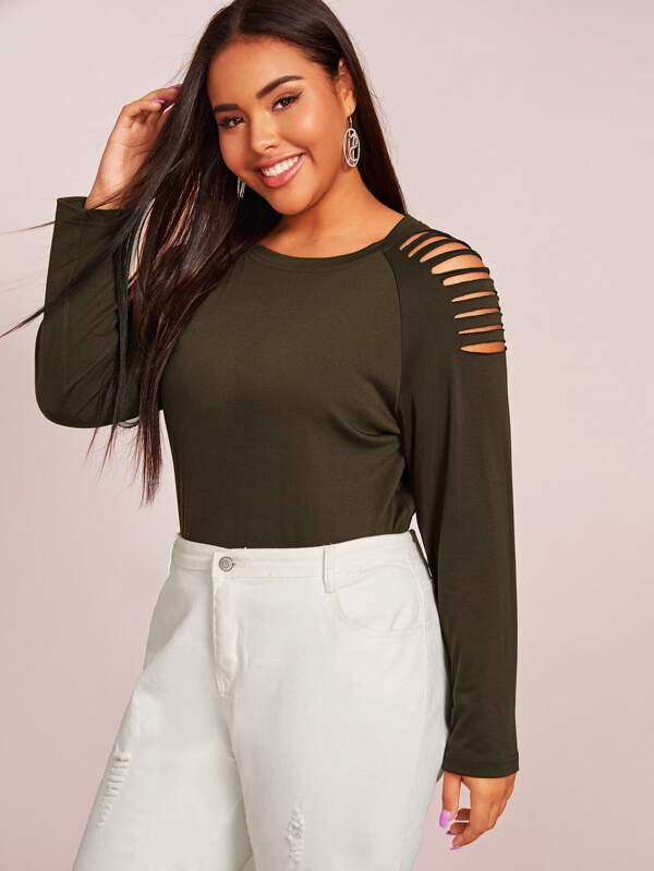 Plus Size Ripped Raglan Sleeve Solid Top