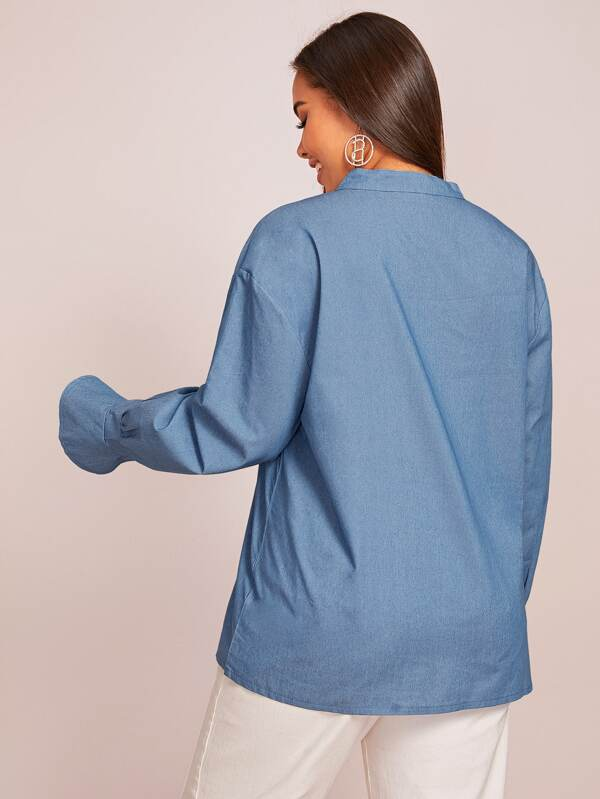Plus Size Notched Collar Flounce Sleeve Denim Top