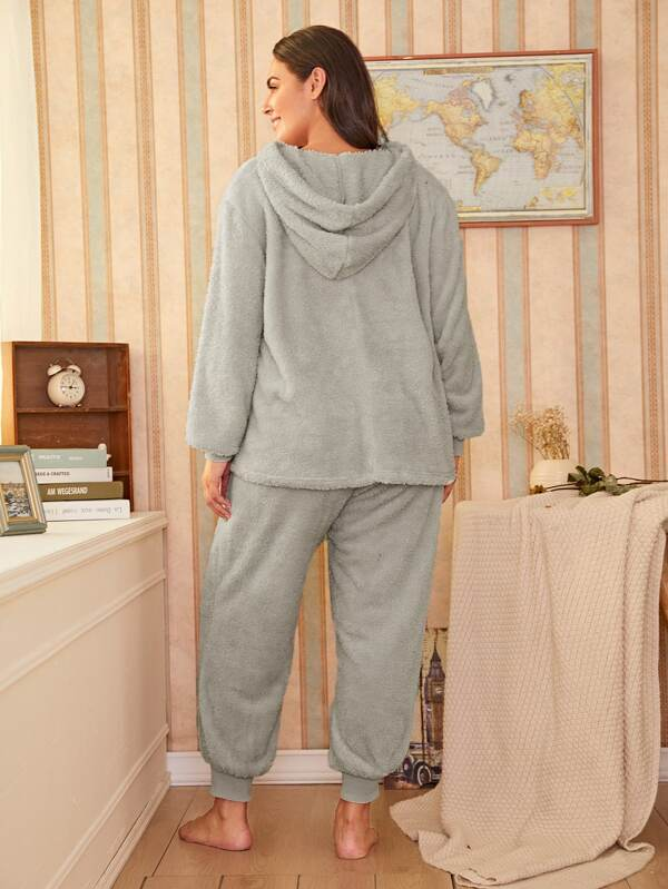 Plus Size Plus Sizeh Hooded PJ Set