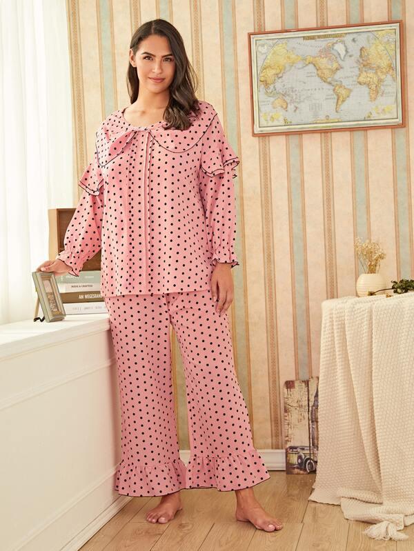 Plus Size Polka Dot Ruffle Trim PJ Set
