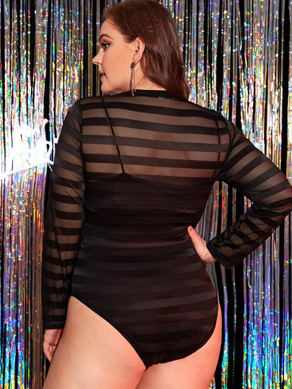 Plus Size Stripe Sheer Mesh Bodysuit Top