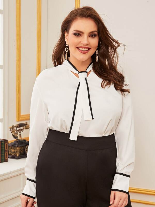 Plus Size Piping Trim Tie Neck Top