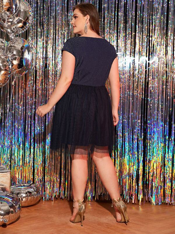 Plus Size Sparkly Glitter Tulle Dress Without Belted