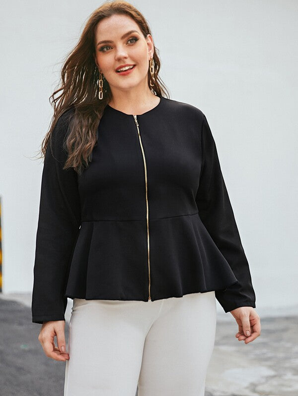 Plus Size Solid Zip Up Peplum Jacket Top