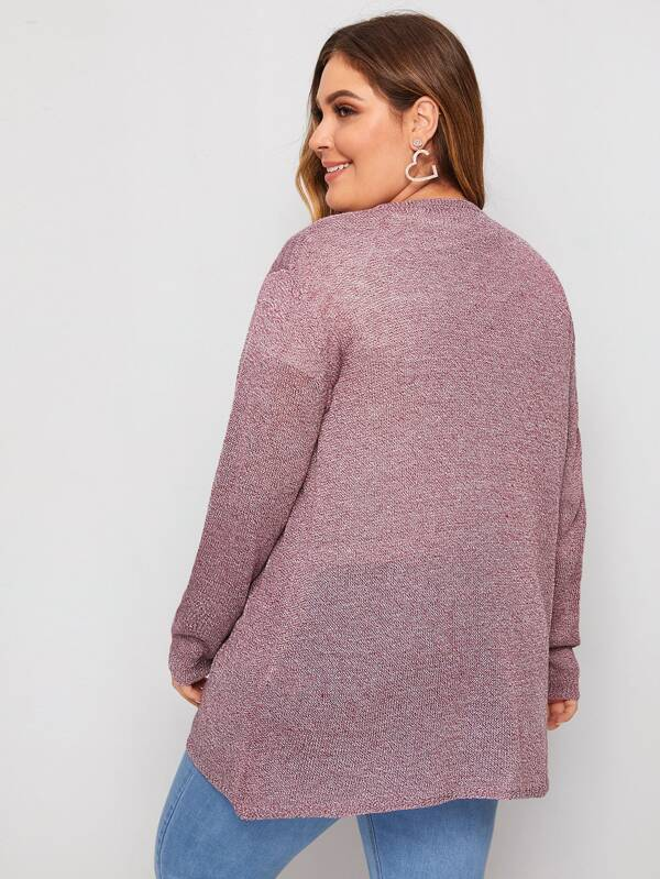 Plus Size Space Dye Open Front Cardigan Top