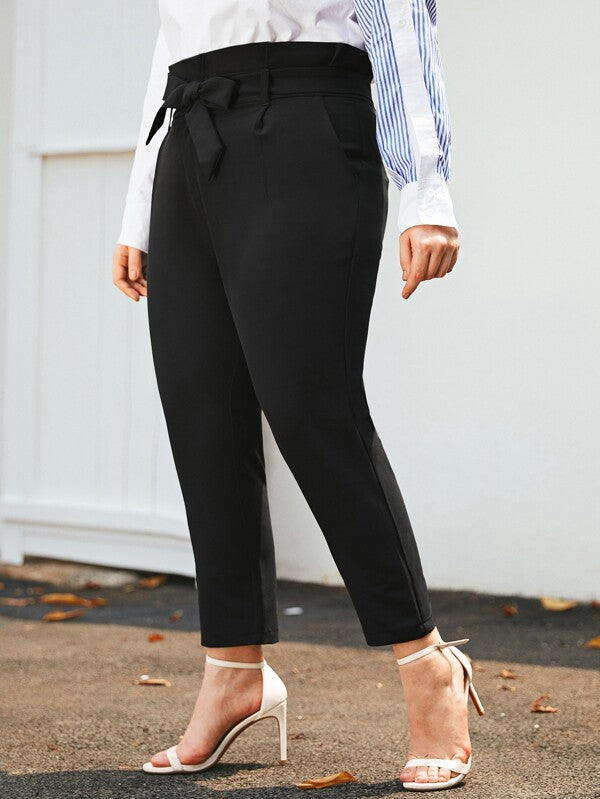 Plus Size Paperbag Waist Belted Tailored Pants