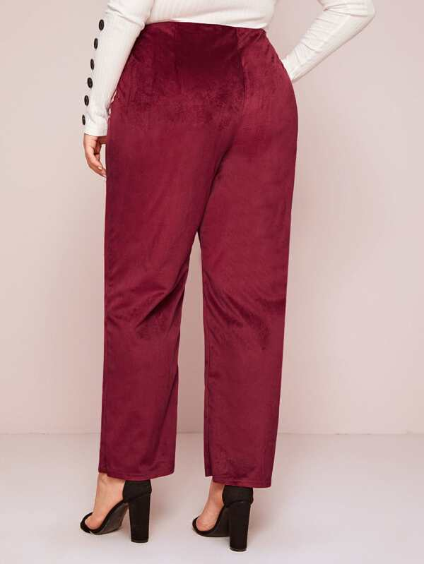 Plus Size Corduroy O-Ring Zip Up Pants