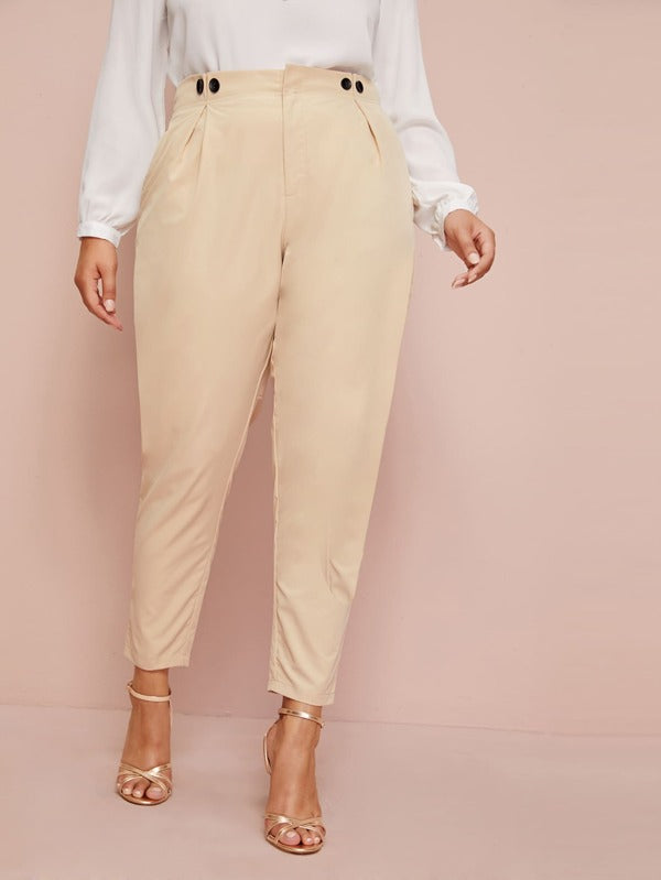 Plus Size Button Detail Plicated Tailored Pants