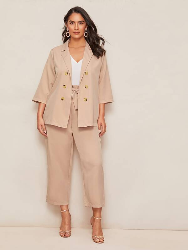 Plus Size Solid Double Breasted Blazer Top & Paperbag Waist Pants