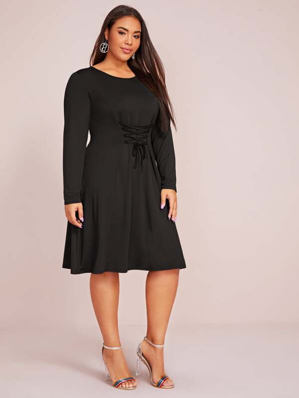 Plus Size Solid Lace Up Waist Flowy Dress
