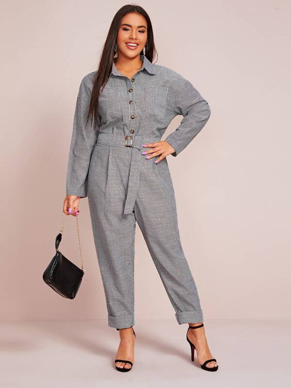 Plus Size Dual Pocket Buckle Belted Striped Shirt Jumpsuit