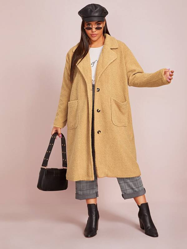 Plus Size Patch Pocket Front Button Up Teddy Coat Top