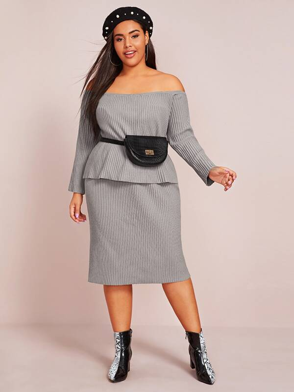 Plus Size Rib-Knit Bardot Sweater Top & Skirt Set Without Bag