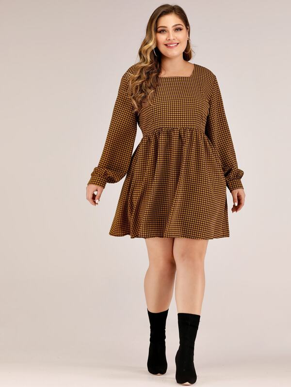 Plus Size Square Neck Houndstooth A-Line Dress