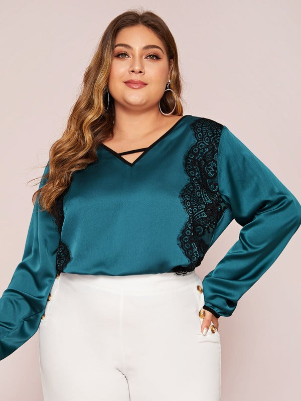 Plus Size Contrast Lace Satin Blouse