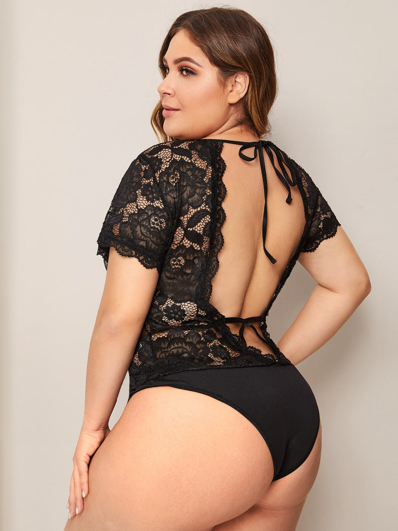 Plus Size Floral Lace Teddy Bodysuit Without Bra