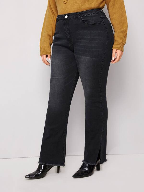 Plus Size Washed Raw Hem Straight Jeans Without Belted