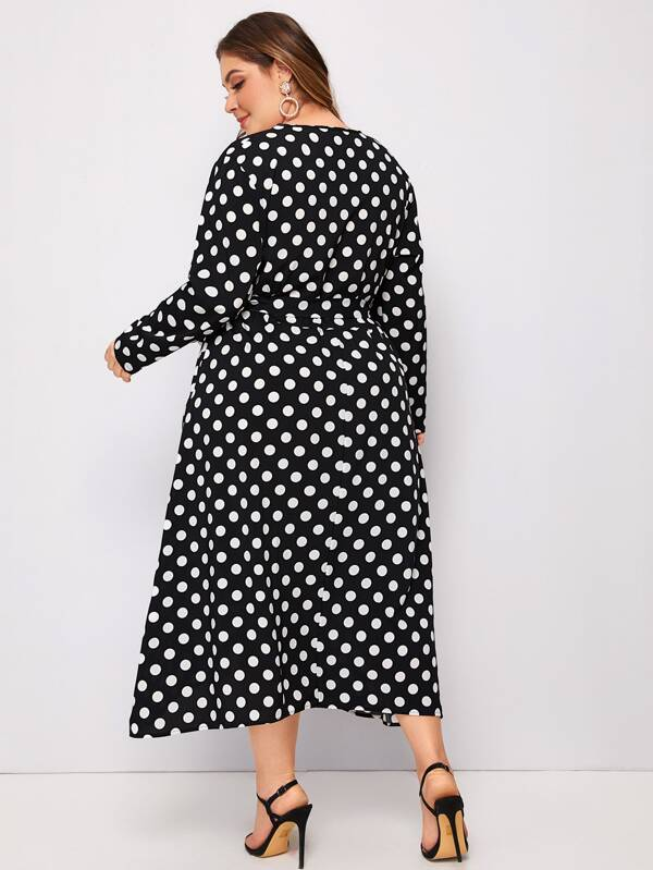 Plus Size Surplice Neck Polka Dot Belted A-Line Dress