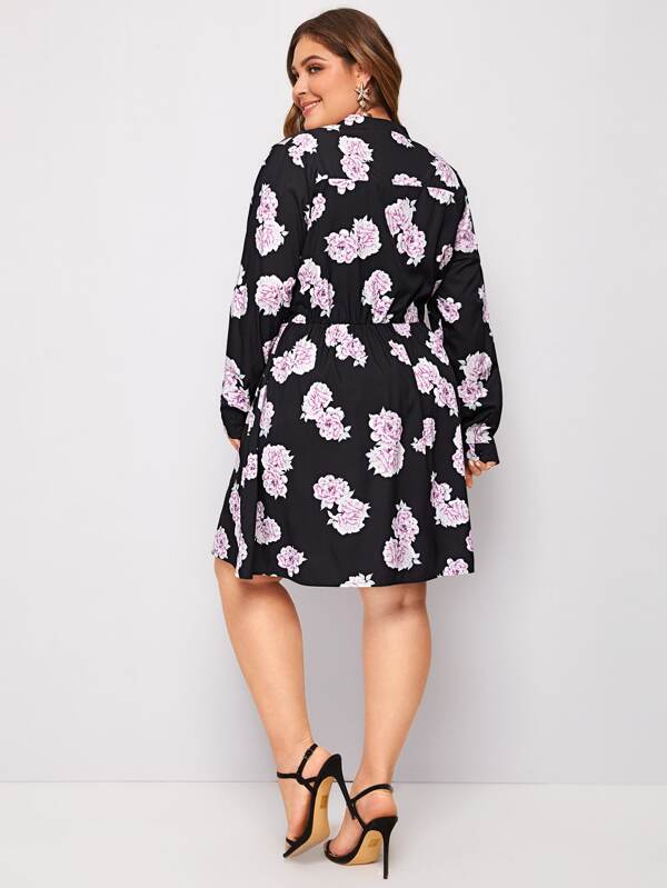 Plus Size Allover Floral Print Notch Neck Shirt Dress