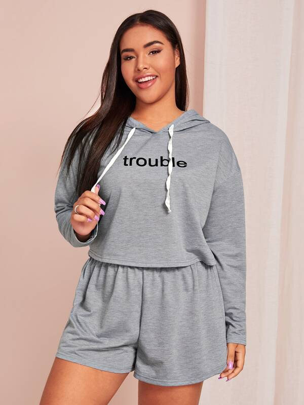 Plus Size Letter Graphic Hooded PJ Set