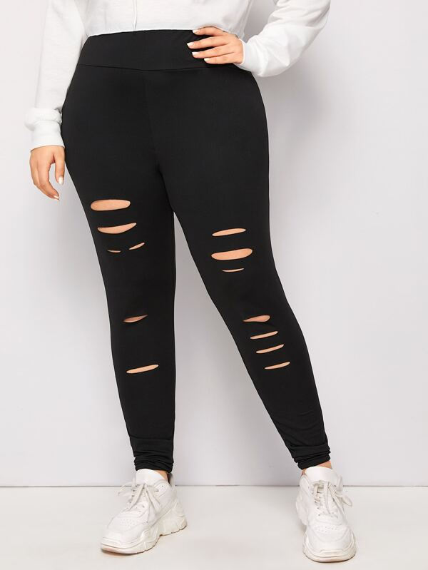 Plus Size Cut Out Front Wide Band Waist Leggings