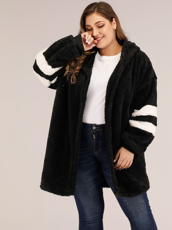 Plus Size Varsity Striped Hooded Teddy Coat Top