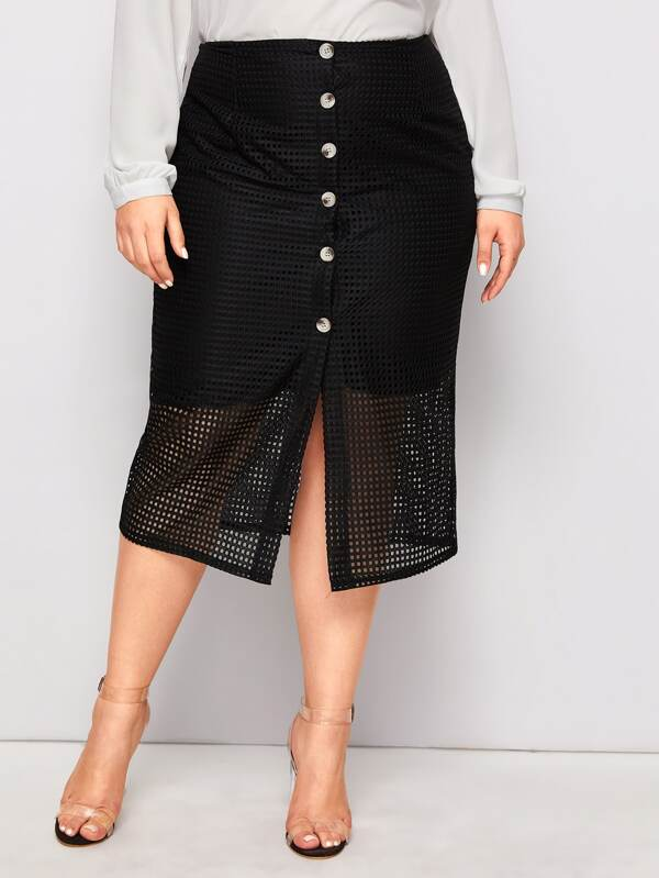 Plus Size Contrast Fishnet Button Front Straight Skirt