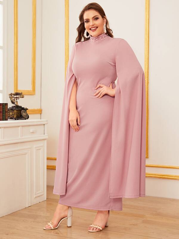 Plus Size Pearls Beaded Mock-Neck Cloak Sleeve Split Hem Dress