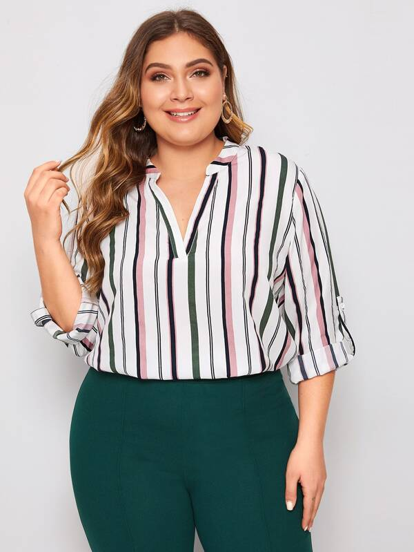 Plus Size V-Placket Roll Tab Sleeve Striped Blouse
