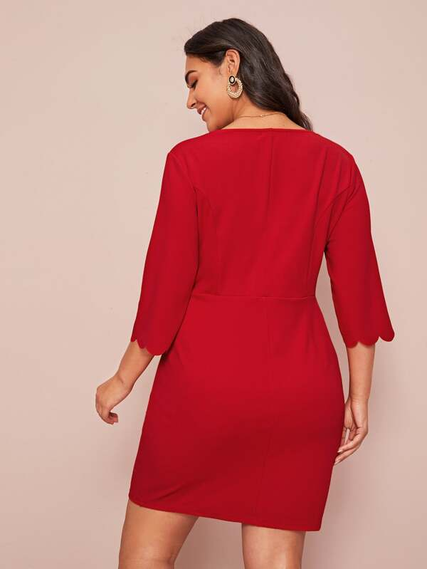 Plus Size Neon Red Scallop Trim Plunge Neck Dress