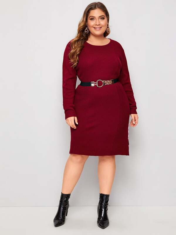 Plus Size Button Side Slit Hem Sweater Dress Without Belt