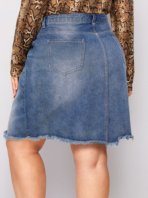Plus Size Raw Hem Denim Skirt Without Belt