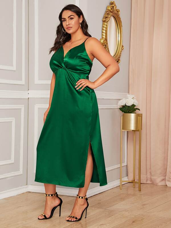 Plus Surplice Neck Split Side Satin Cami Dress